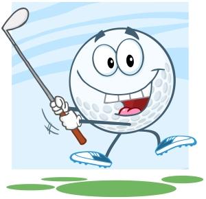 Happy Golf Ball Character Swinging A Golf Club